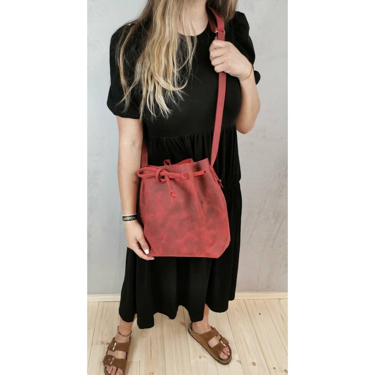 BSAITE Rote Beuteltasche / Shopper / Bucket Bag / Echt Leder