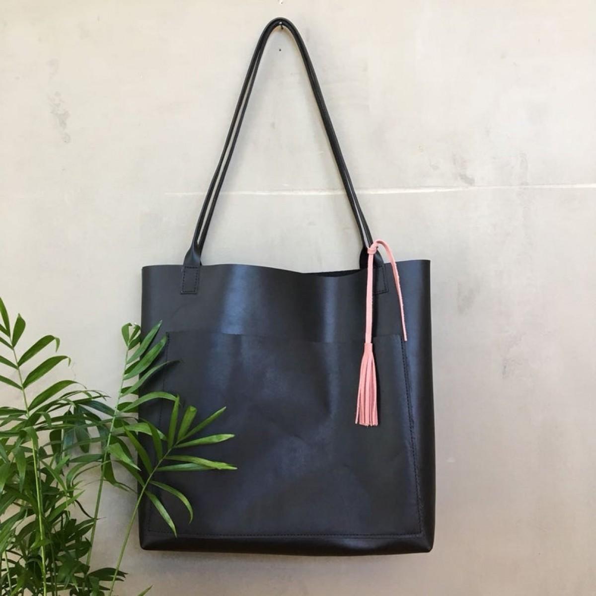 Schwarzer Leder Shopper // Schwarzer Lederbeutel // große Leder Tote // Tasche für jeden Tag // schwarze Ledertasche // boho