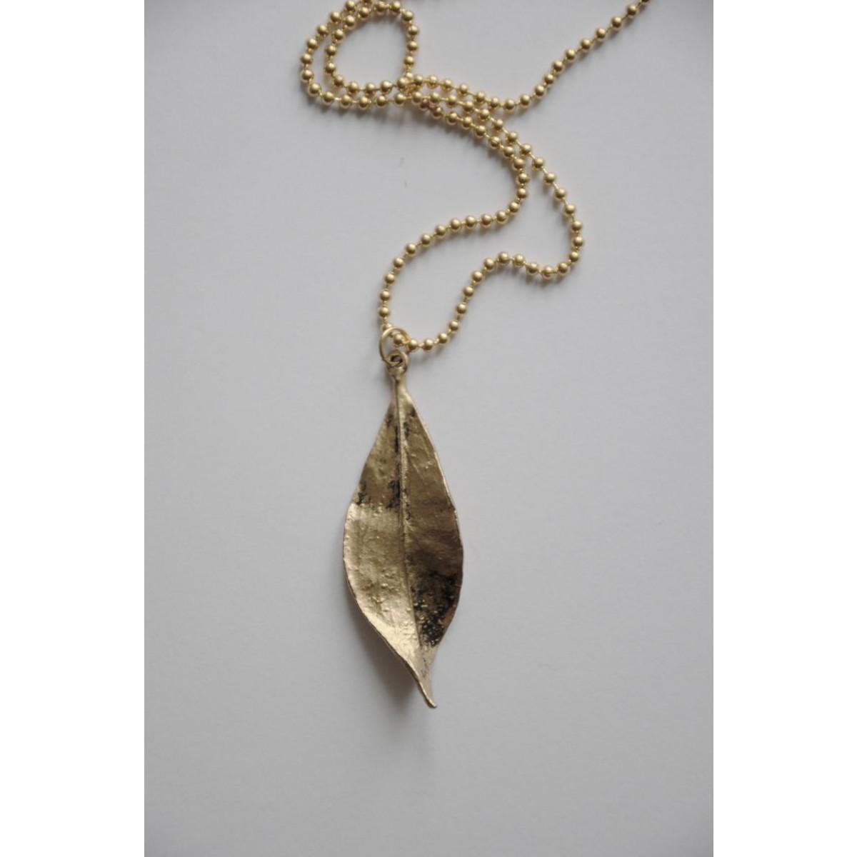 "nahili KETTE ""leafs"" lang & mit goldenem Blatt"