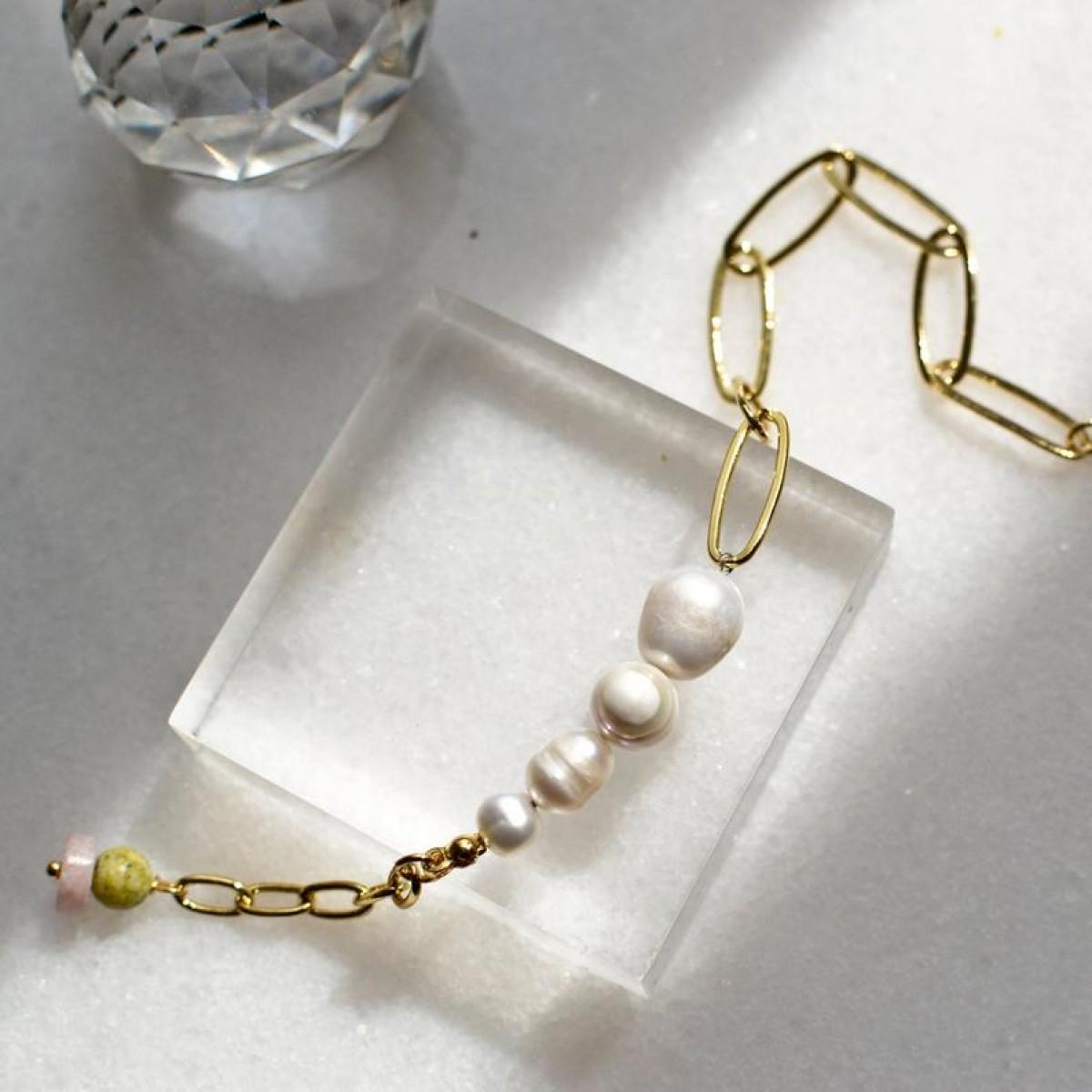 Paperclip Armband mit Süßwasserperlen