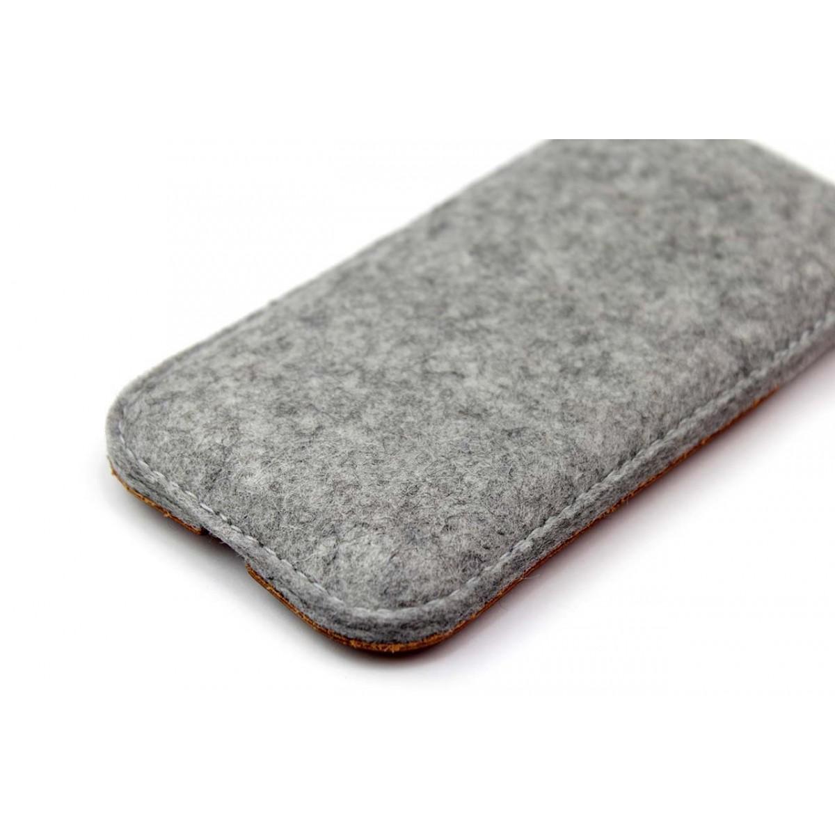 """iPhone 5S / SE Hülle """"Kirkby"""" 100% Merino Wollfilz (grau meliert)"""