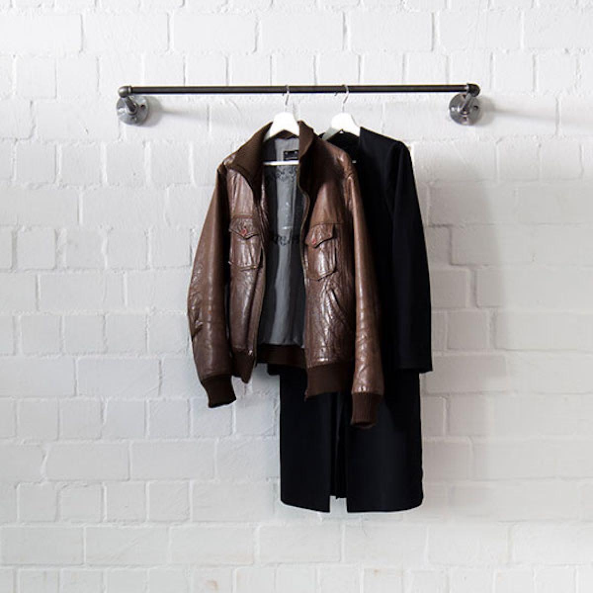 Industrial Style Kleiderstange · Wandgarderobe im Industriedesign SOLID LINE - Tiefe 12 cm