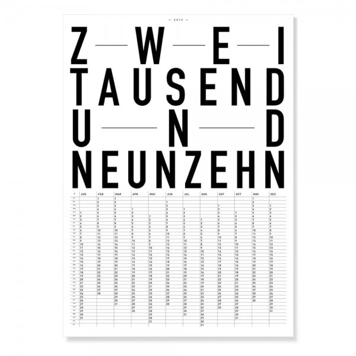 TYPE HYPE – Jahreskalender DIN ZWEITAUSENDNEUNZEHN / 2019