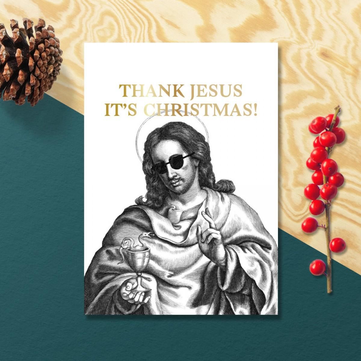 3er-Set – THANK JESUS IT'S CHRISTMAS! –  Chiara Tempel – Weihnachtskarten, goldene Heißfolienprägung