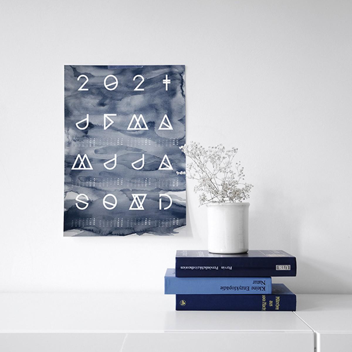 nahili 2021 KALENDER Geometrical ABC (diverse Farben - schwarz - A3 / 50x70 Poster)