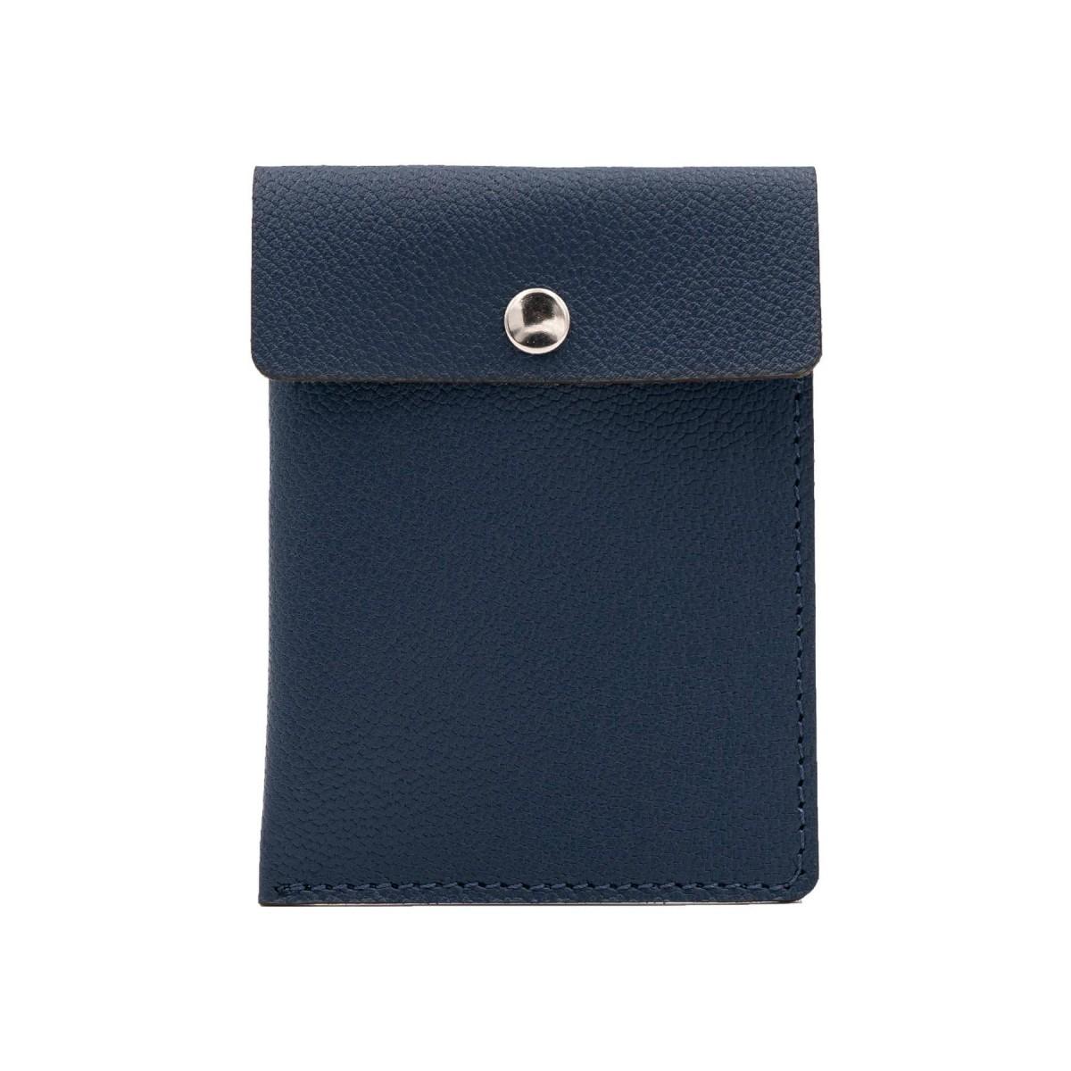 Kartenetui in marineblau - aus premium pflanzlich gegerbtem Ziegenleder