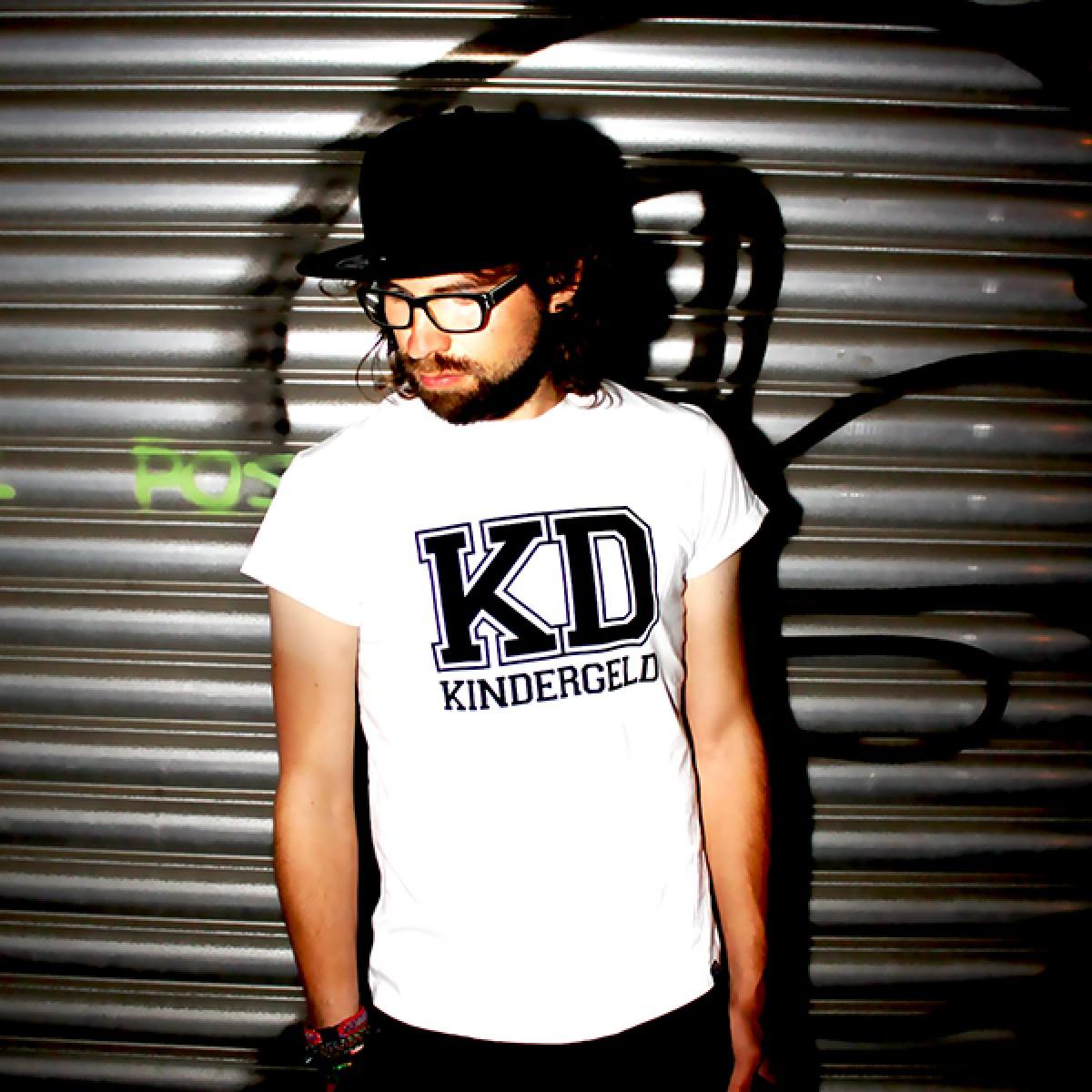 """KINDERGELD ORGANIC Mens Roll Sleeve T-Shirt """"KD"""""""