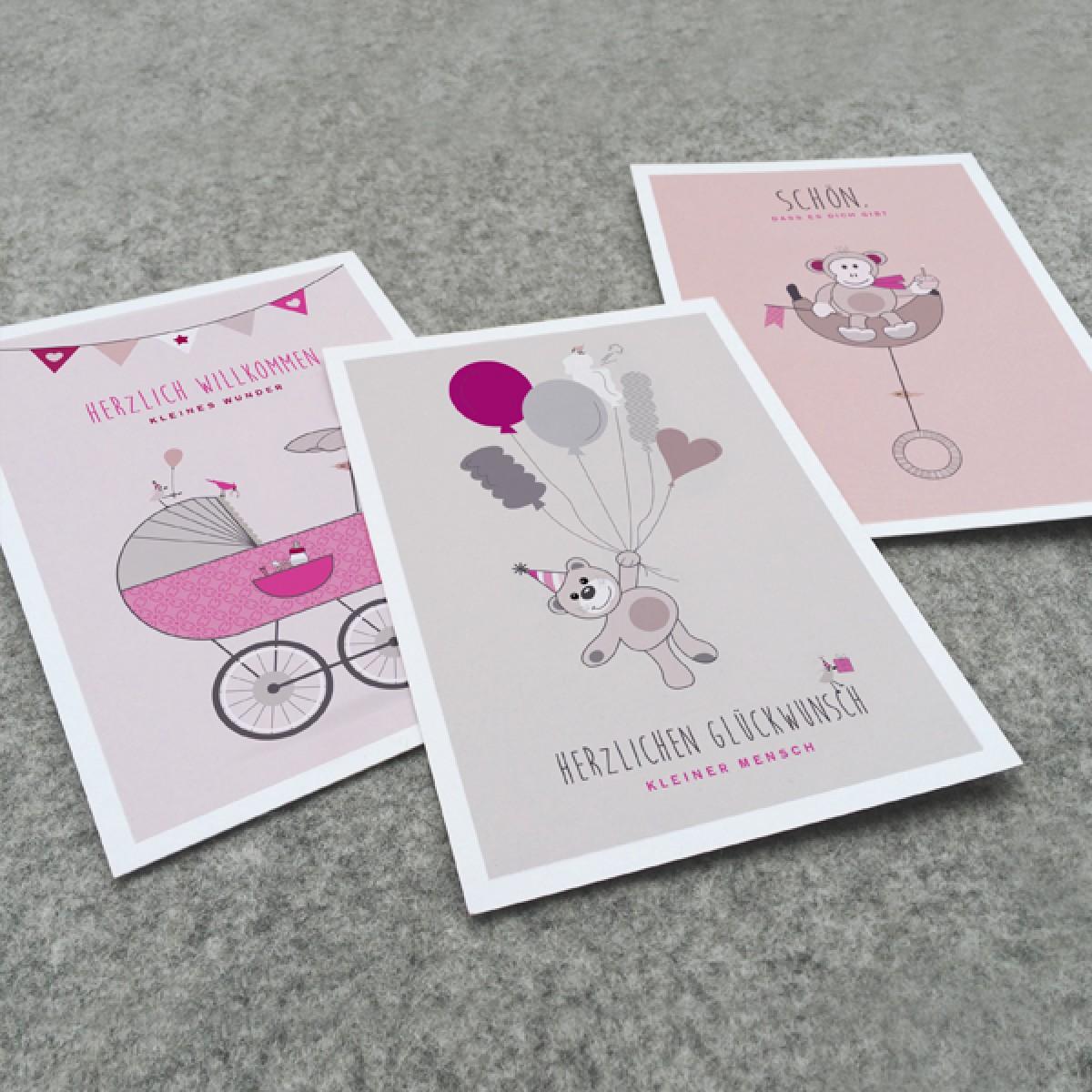 kleiner mensch Kartenset – 3 Stück (Mädchen)