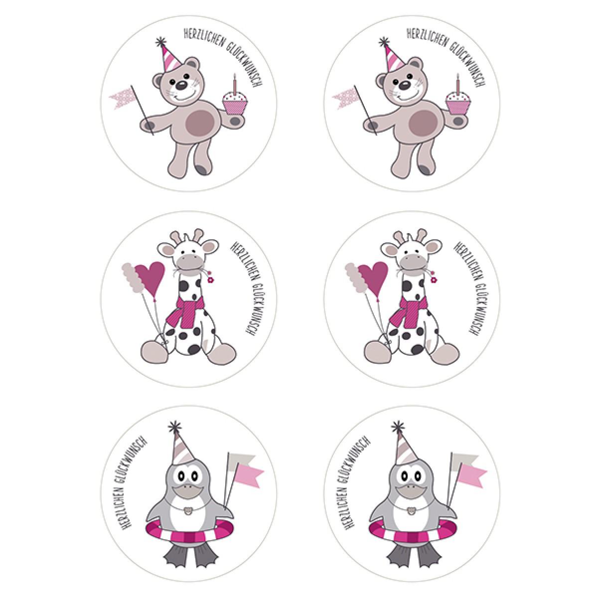 """kleiner mensch Sticker """"Herzlichen Glückwunsch"""" - 12 Stück (Mädchen)"""