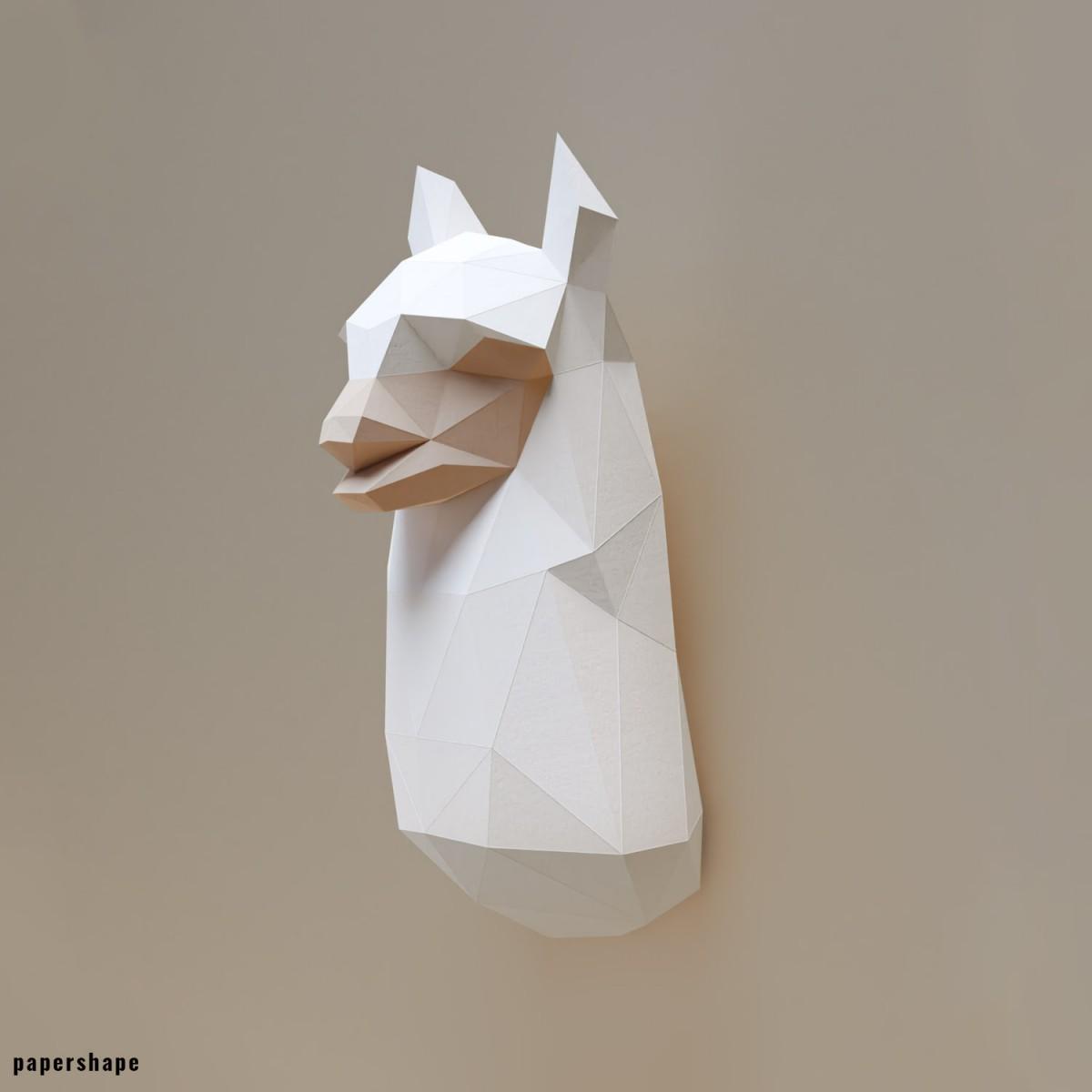 PaperShape Lama - Vegane Tiertrophäe aus Papier im DIY Kit