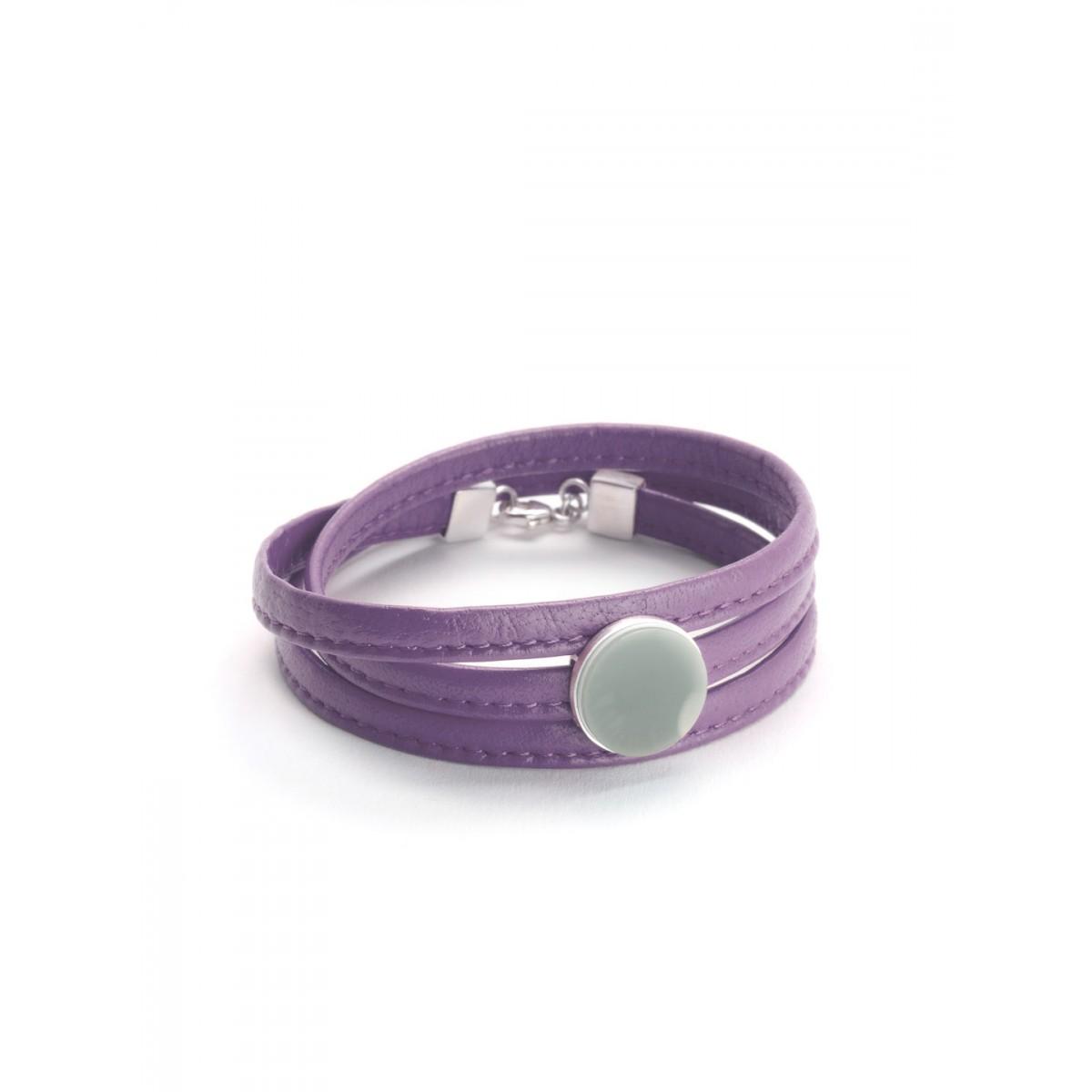 "Eva Slotta Jewellery ""Tint Deep"" Armband mit violettem Nappaleder  und Naturachat, 925 Silber"