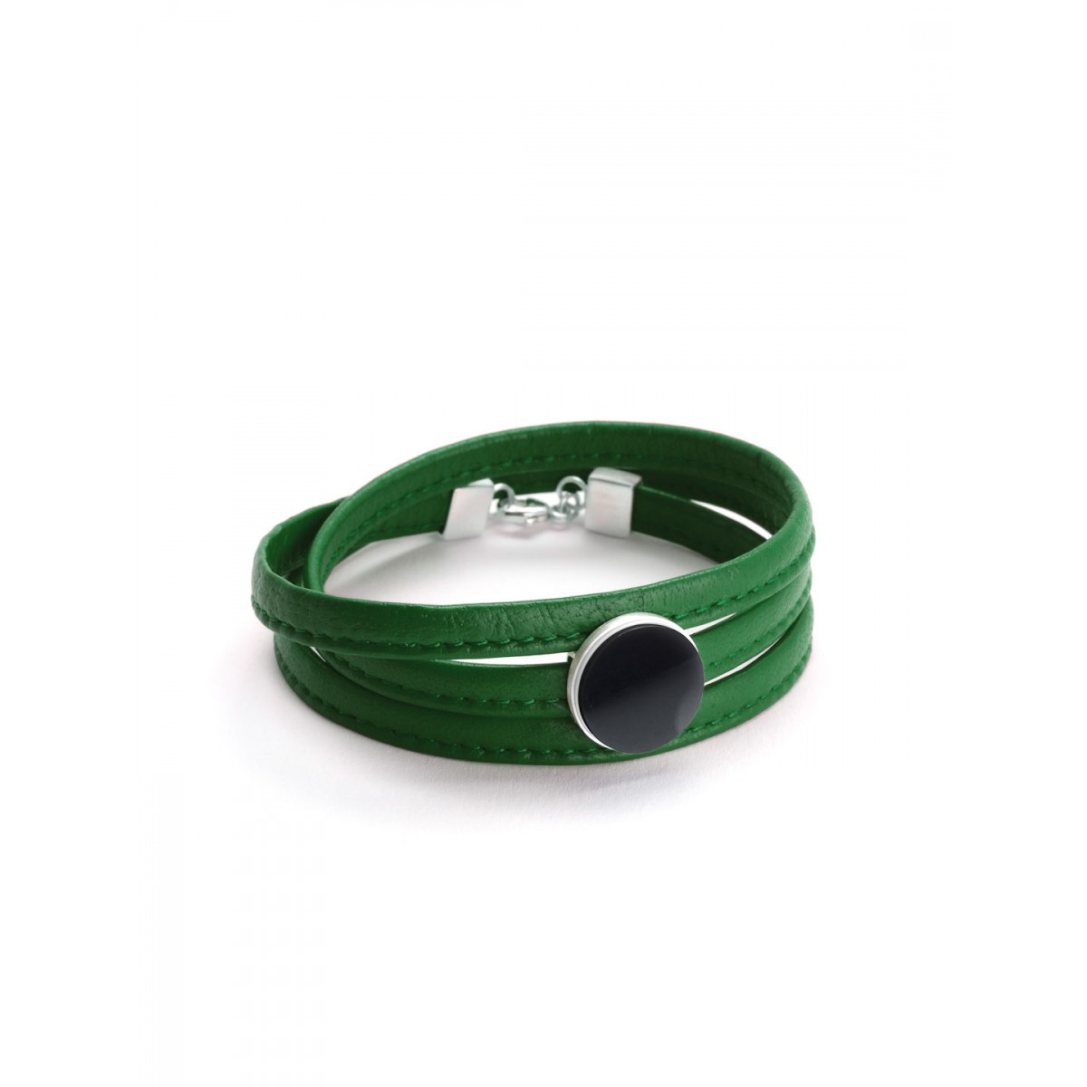"Eva Slotta Jewellery ""Tint Deep"" Armband mit grünem Nappaleder und schwarzem Hämatit, 925 Silber"