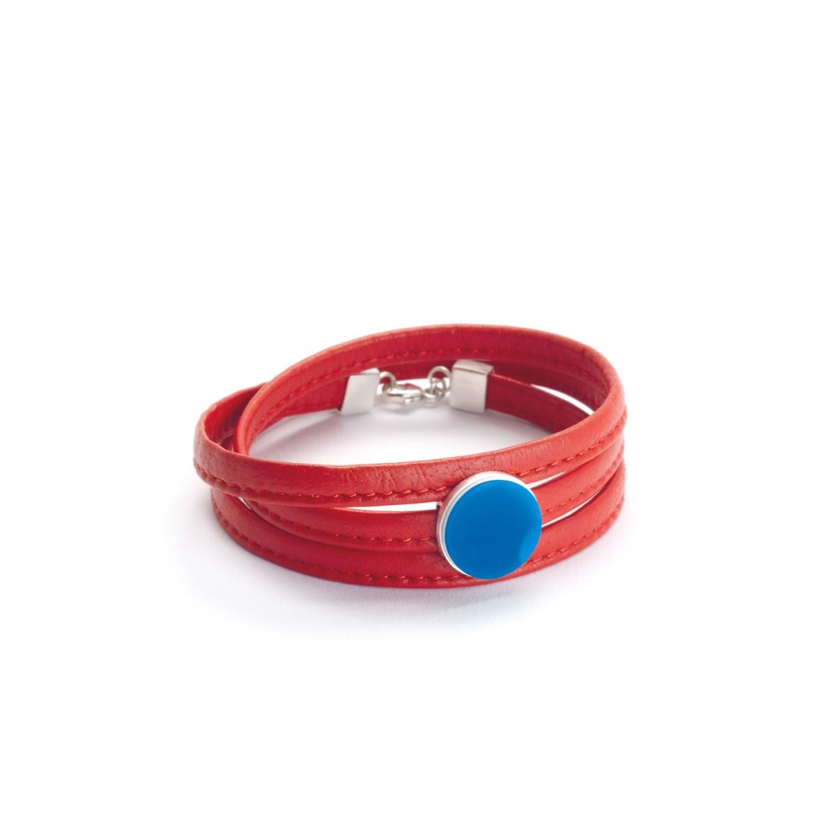 "Eva Slotta Jewellery ""Tint Deep"" Armband mit rotem Nappaleder  und blauem Achat, 925 Silber"