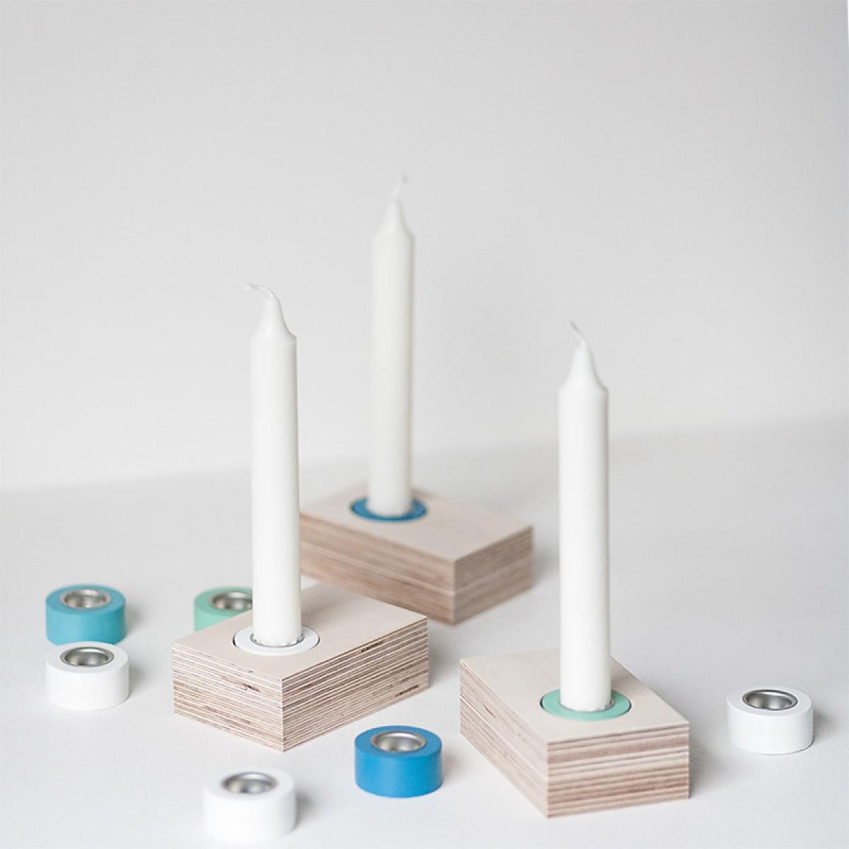 Kerzenständer Lilli - 3 weiß/blau/grün
