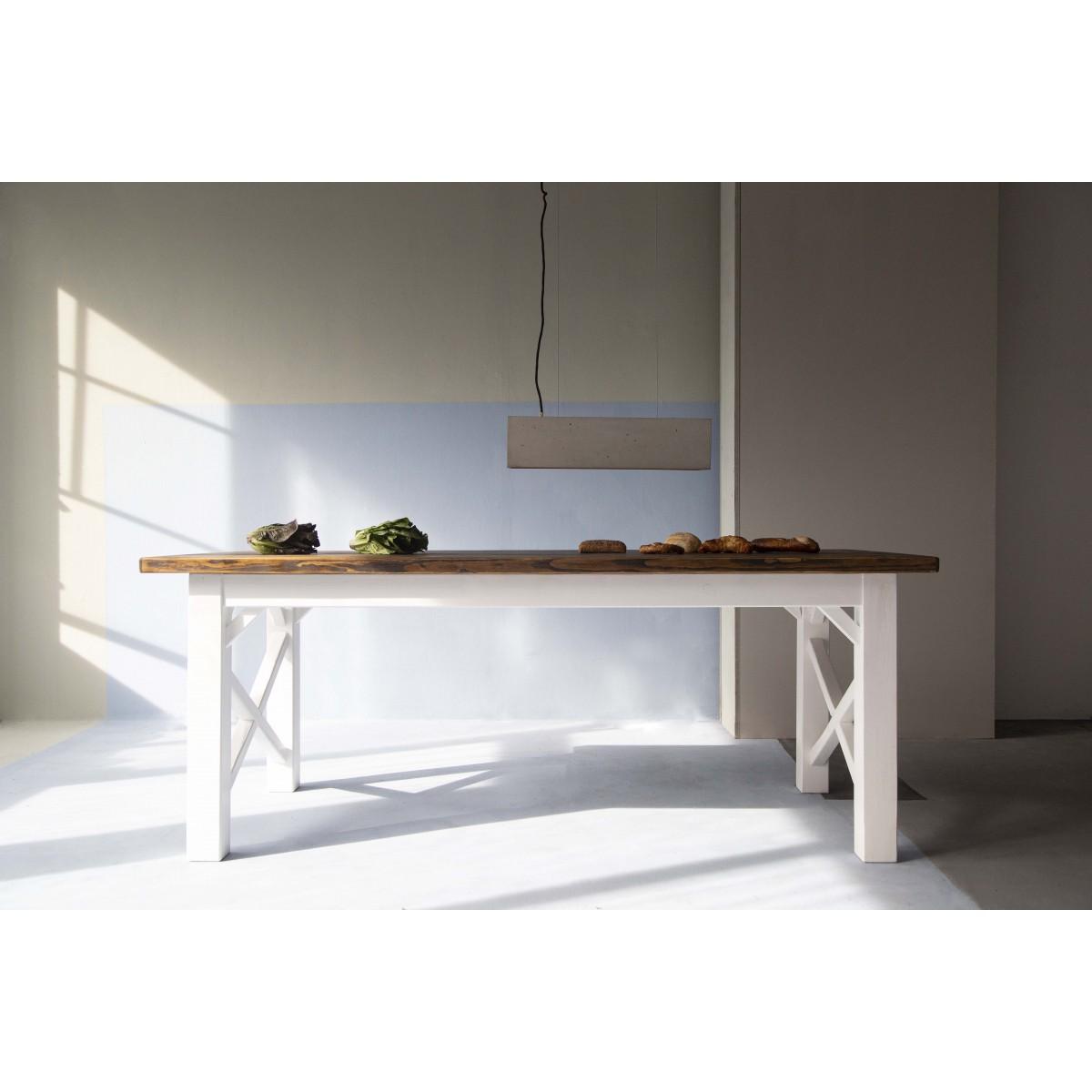 FraaiBerlin – Landhaus Tisch Loren/Liv  200 x 90cm mit zwei Ansteckplatten á 50cm