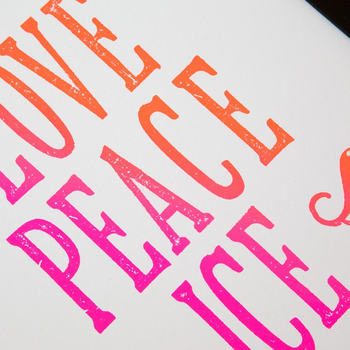 Bon Matin Siebdruck Love Peace Ice Cream Irisdruck