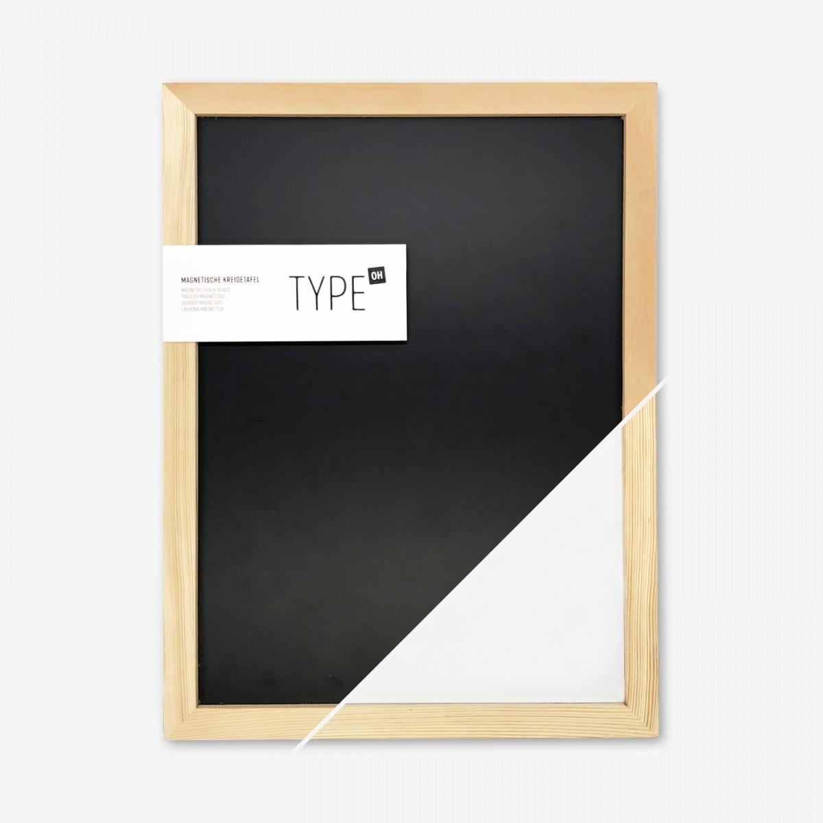 Magnetische Kreidetafel mit Holzrahmen SCHWARZ WEISS   TYPE OH