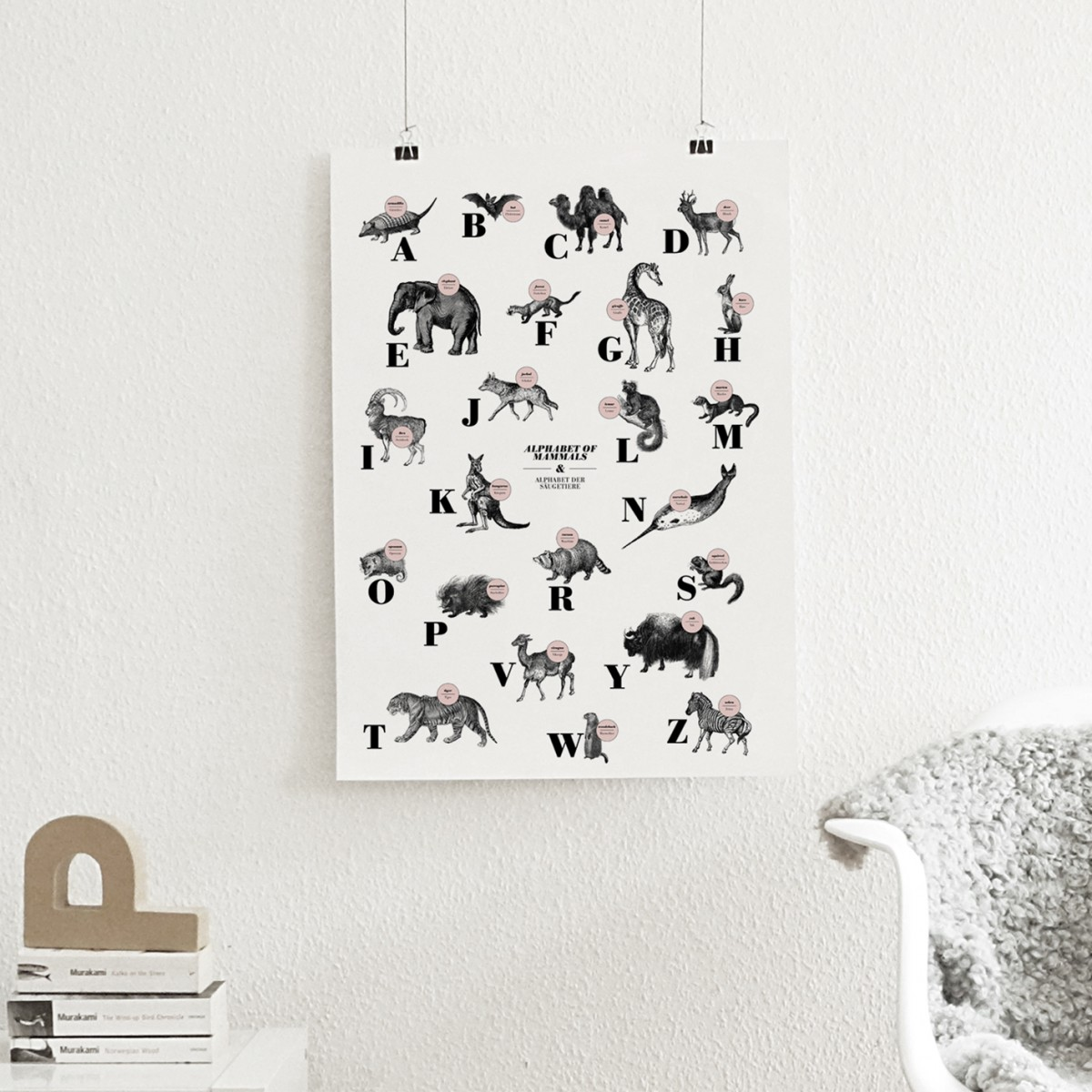The True Type Poster, ABC der Säugetiere / alphabet of mammals in Deutsch/Englisch, DIN A1, Plakat, Typografie, Design