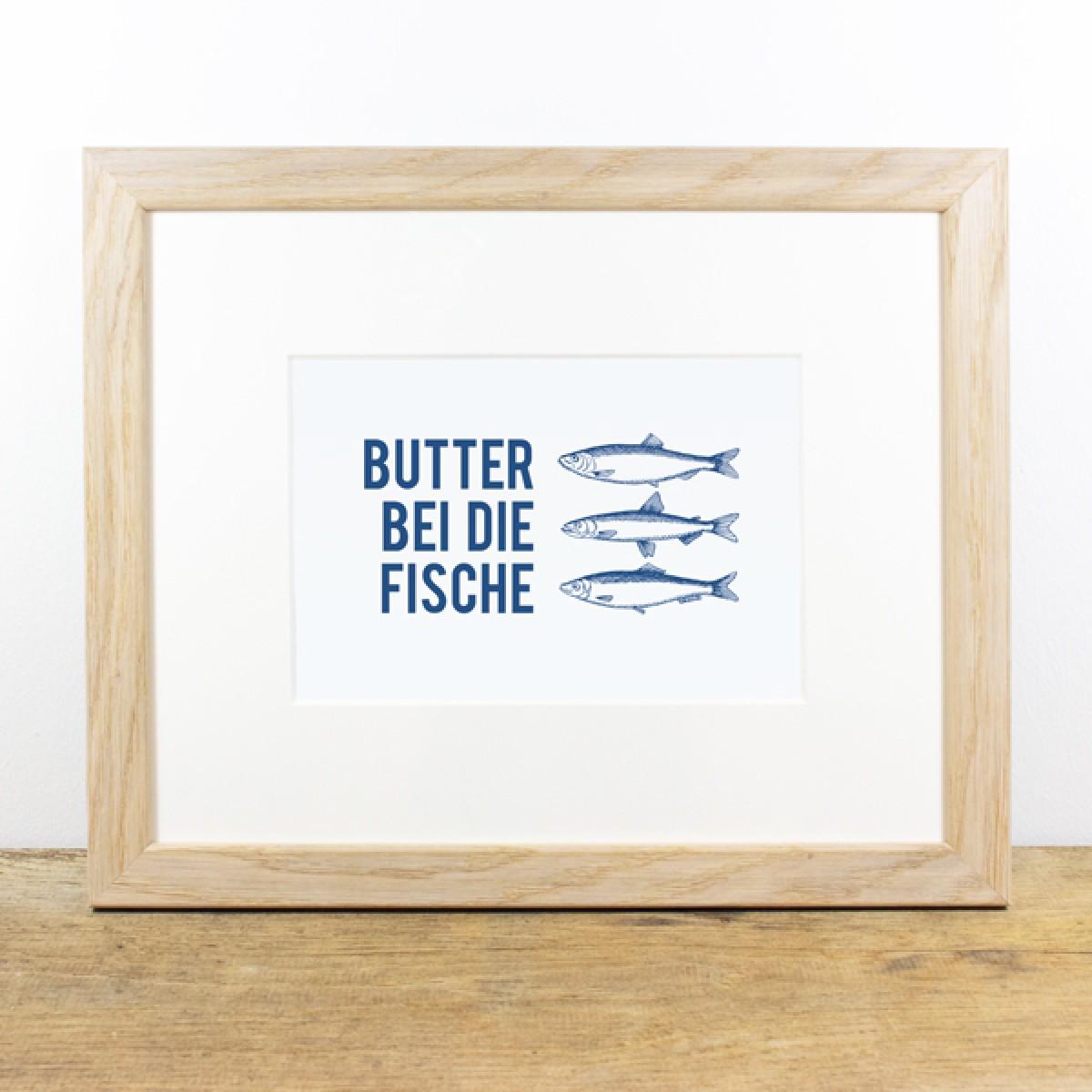 Bow & Hummingbird Bild mit Echtholzrahmen - Butter bei die Fische