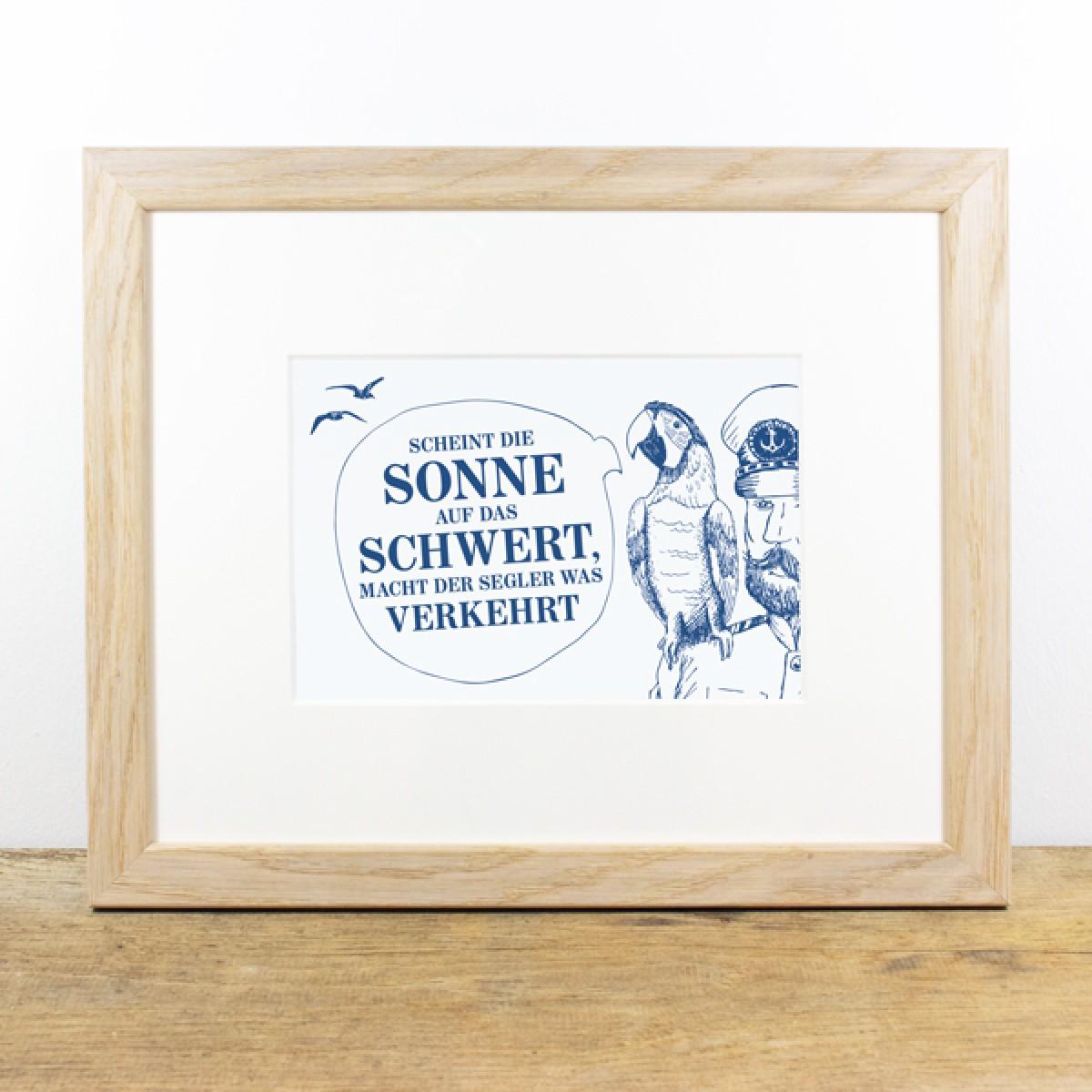 Bow & Hummingbird Bild mit Echtholzrahmen - Käpt´ns Weisheit I