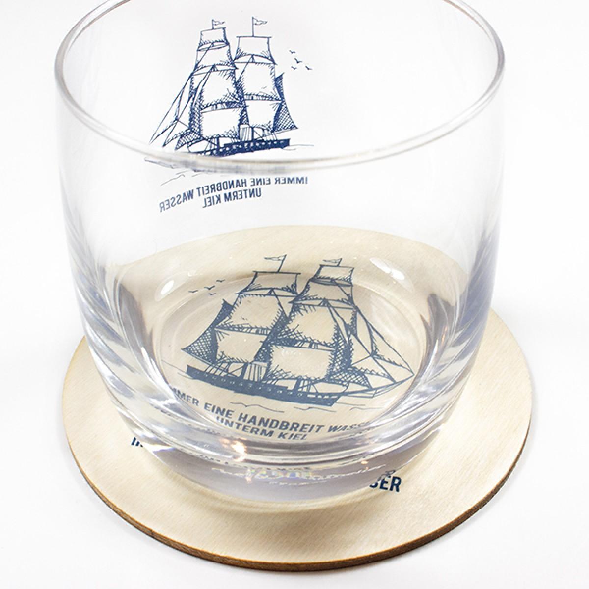"""Bow & Hummingbird Kristallglas """"Wasser unterm Kiel"""""""