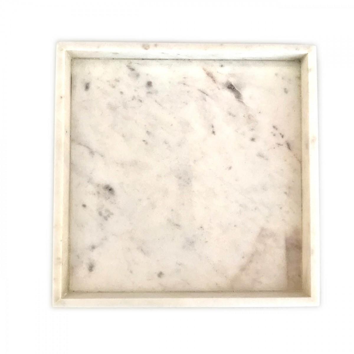 Marmortablett, quadratisch weiss