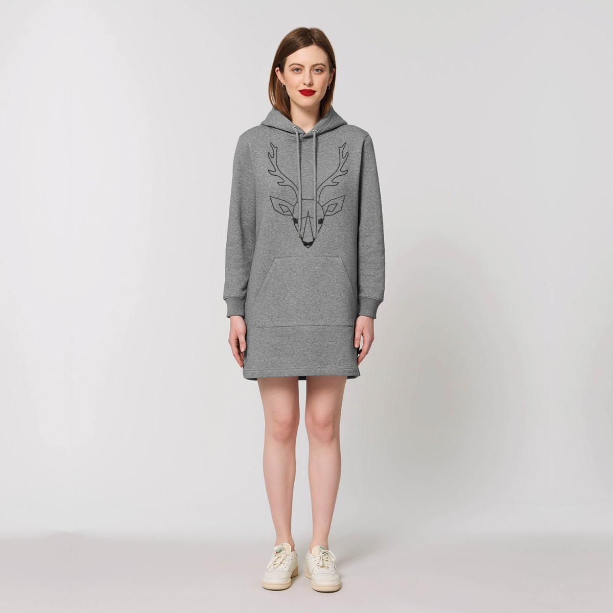 melike Sweatshirtkleid GLITZER HIRSCH grau melange