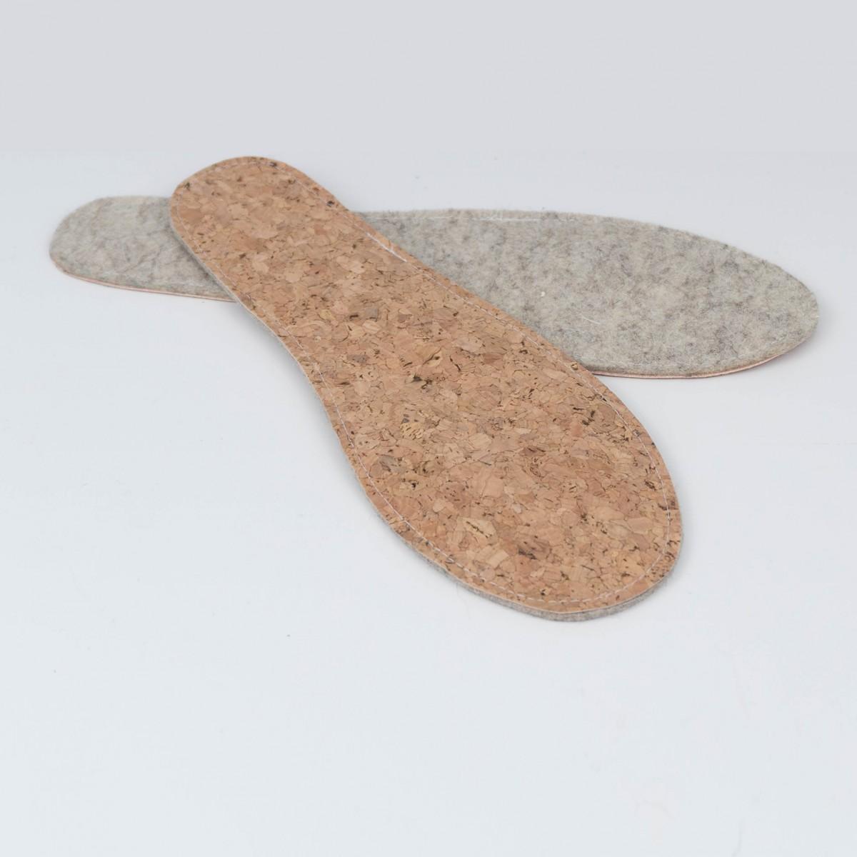 MEIN EIN & ALLES Einlegesohlen aus Merino-Wolle und Kork für Damenhausschuhe
