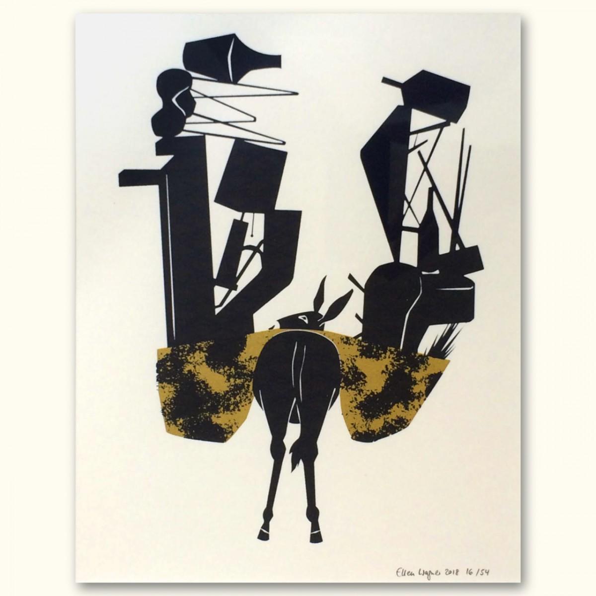 Print now - Riot later Midcentury Donkey Siebdruck