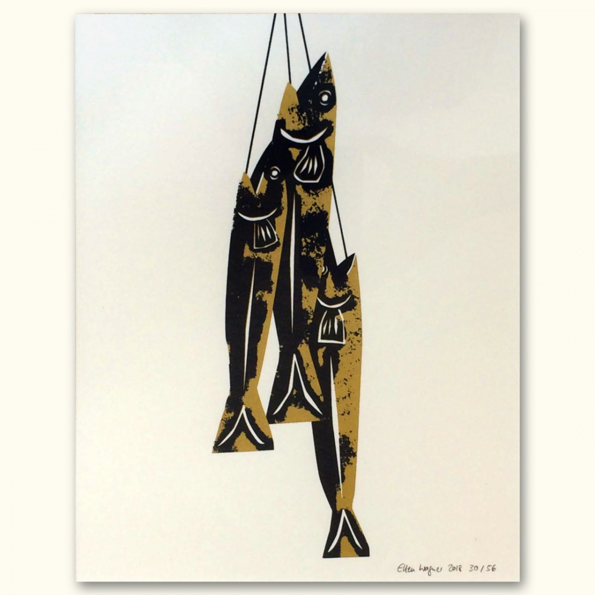 Print now - Riot later Midcentury Fishes Siebdruck