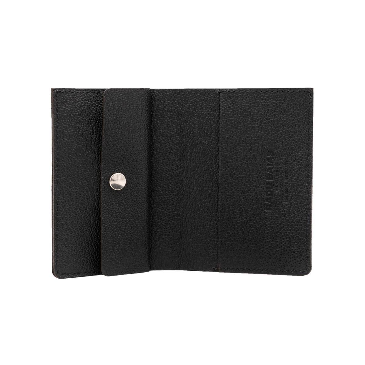 Mini Portemonnaie in schwarz mit Münzfach - aus premium pflanzlich gegerbtem Ziegenleder