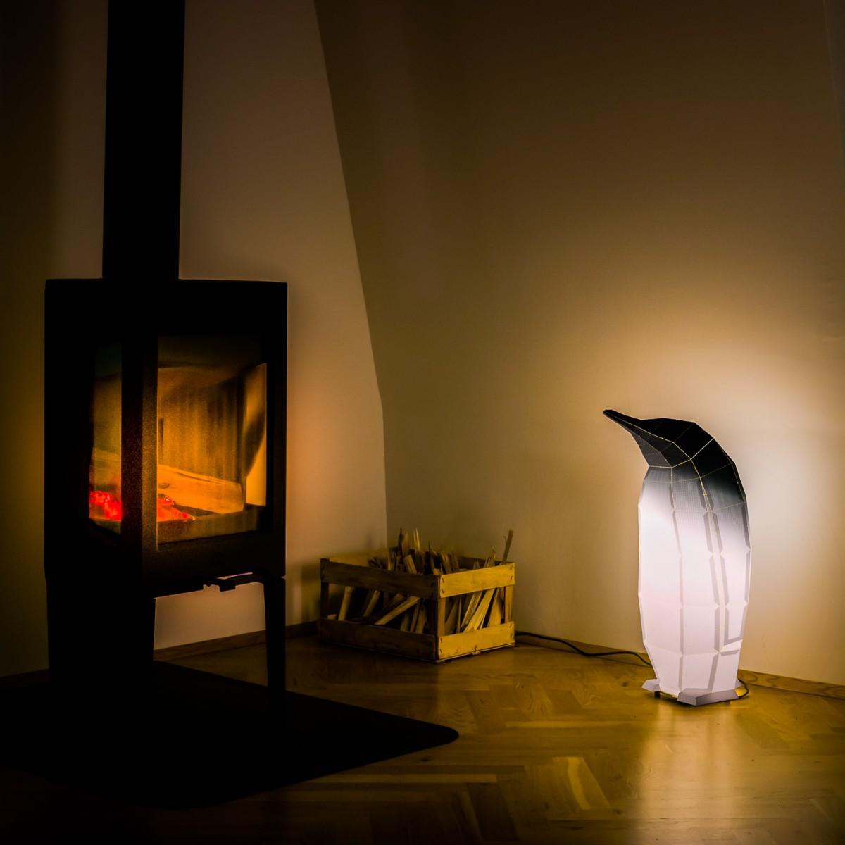 Penguin black gradient - DIY Papierlampenschirm
