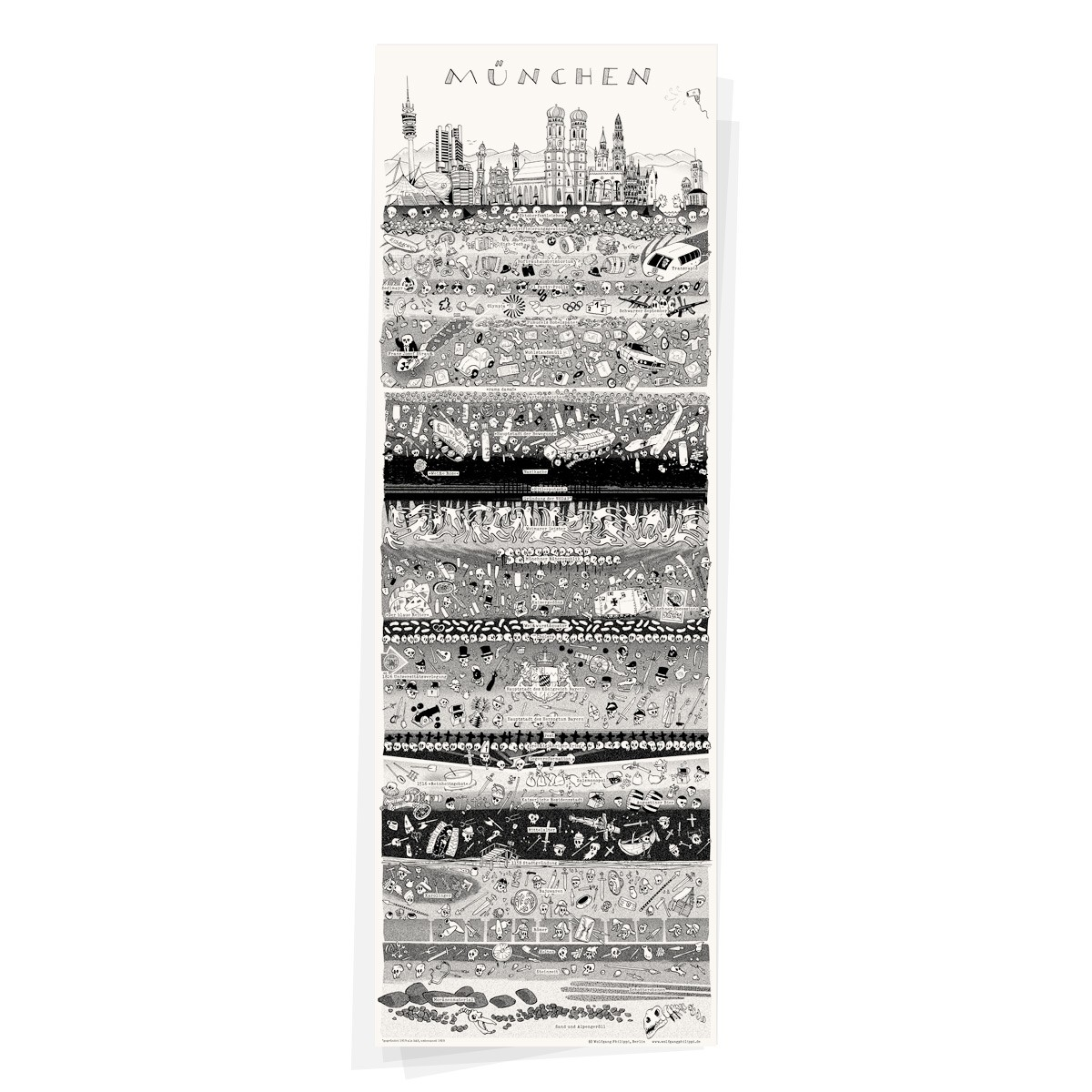 Wolfgang Philippi MÜNCHEN PLAKAT 30x88 cm