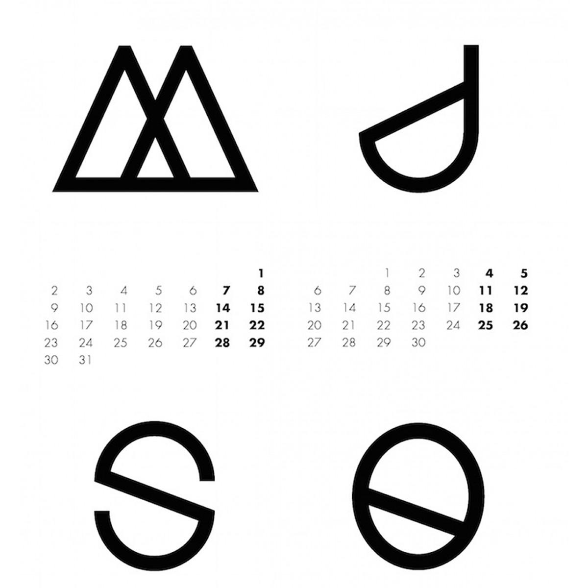na.hili 2017 KALENDER Geometrical ABC - 50x70 schwarz / weiß - Poster