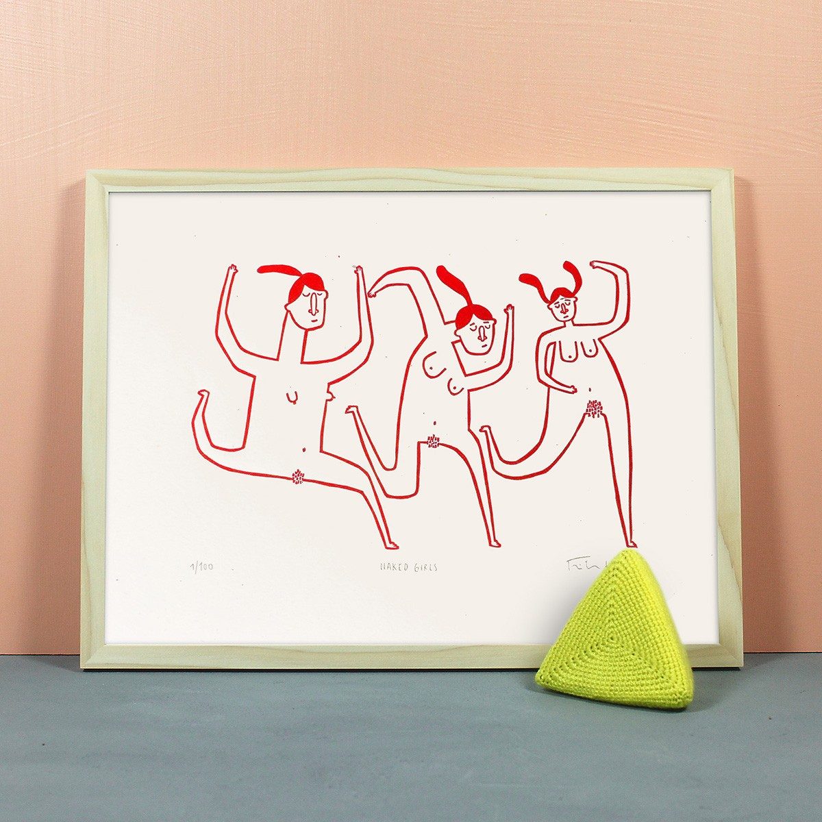 Knallbraun – Naked Girls | Linolschnitt