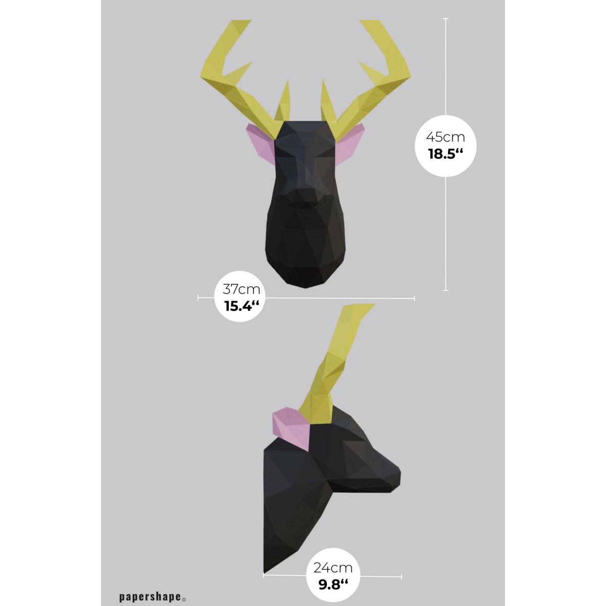 Hirsch - Vegane Tiertrophäe aus Papier im DIY Kit