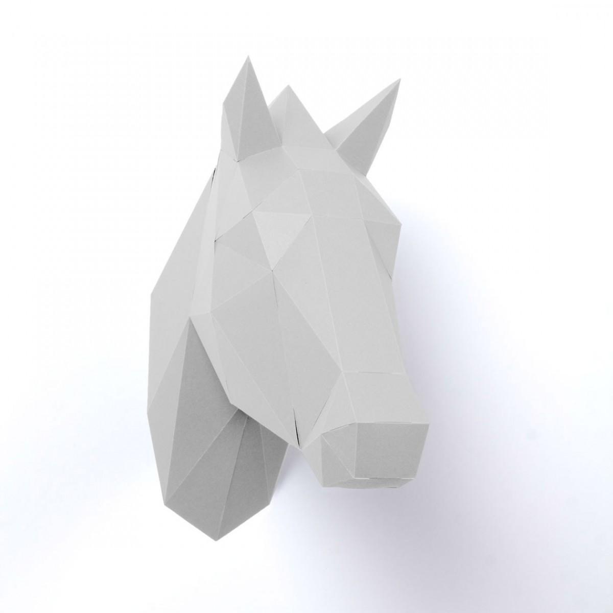 PaperShape Papiertrophäe Pferd zum Zusammenstecken