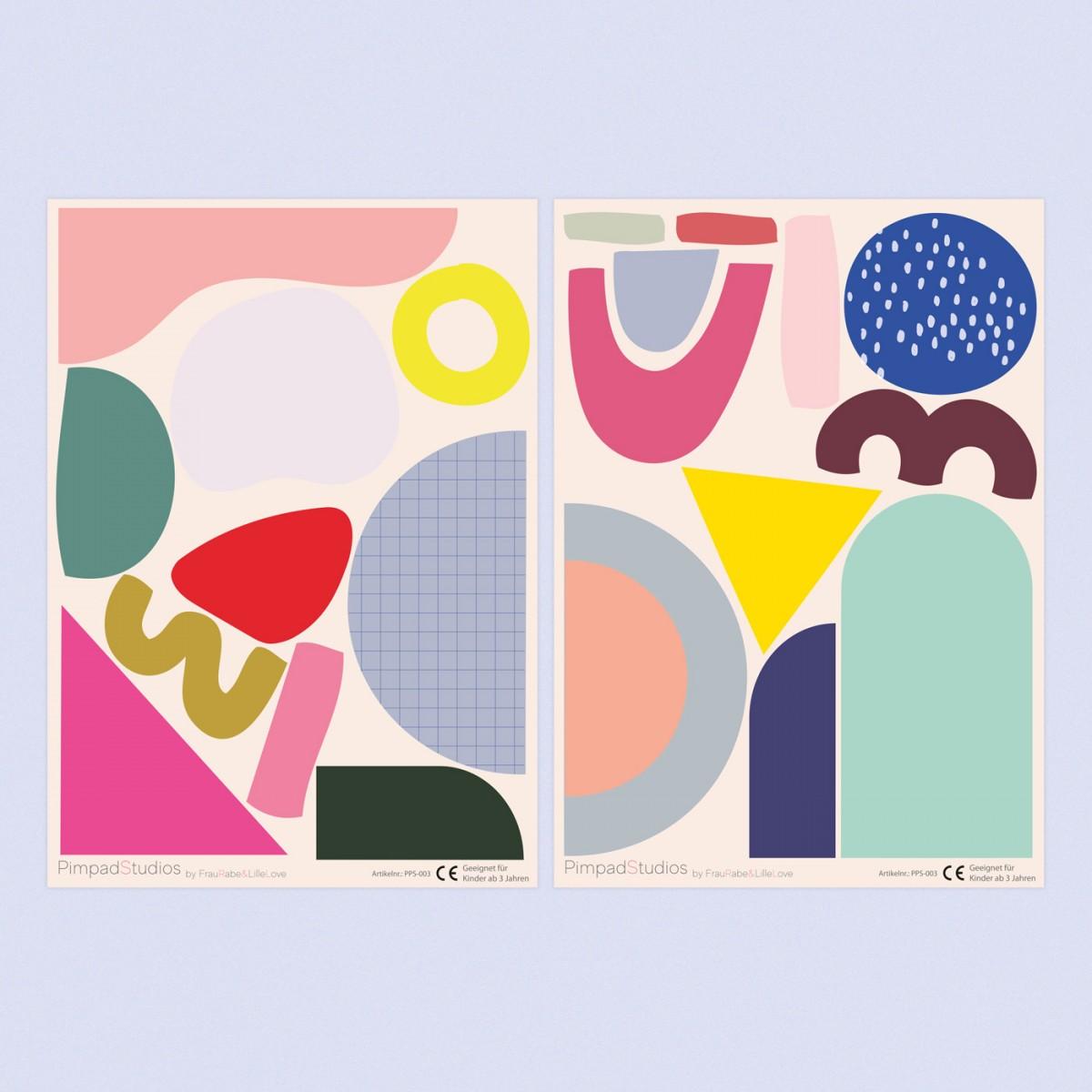 """Pimpad Sticker Set """"Shapes/Geo"""" (2 Bögen Aufkleber, umweltfreundlich, wiederverwendbar, DIY)"""