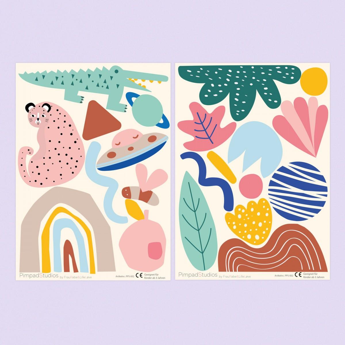 """Pimpad Sticker Set """"Kids"""" (2 Bögen Aufkleber, umweltfreundlich, wiederverwendbar, DIY)"""