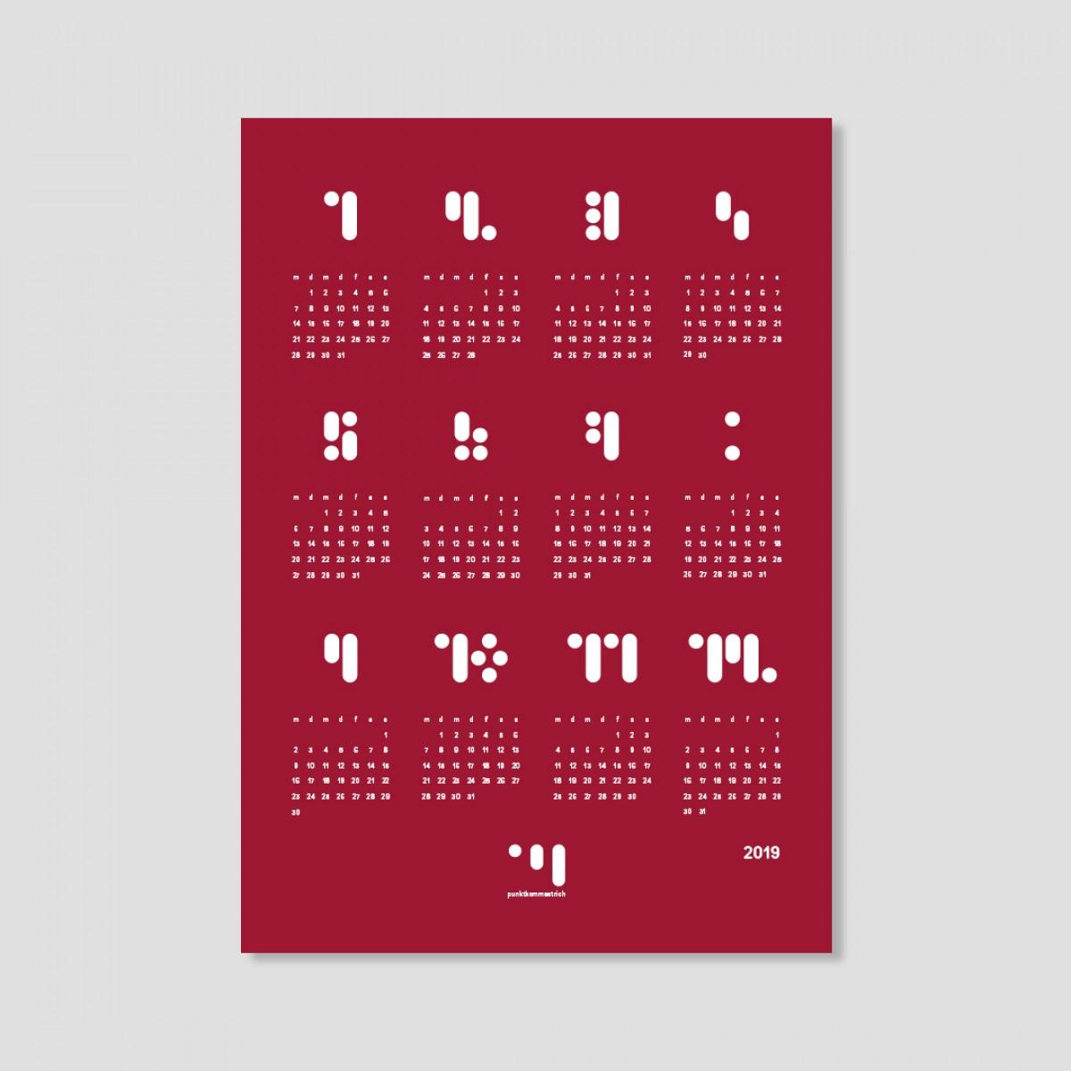 kalender 2019 jester red Designwandkalender