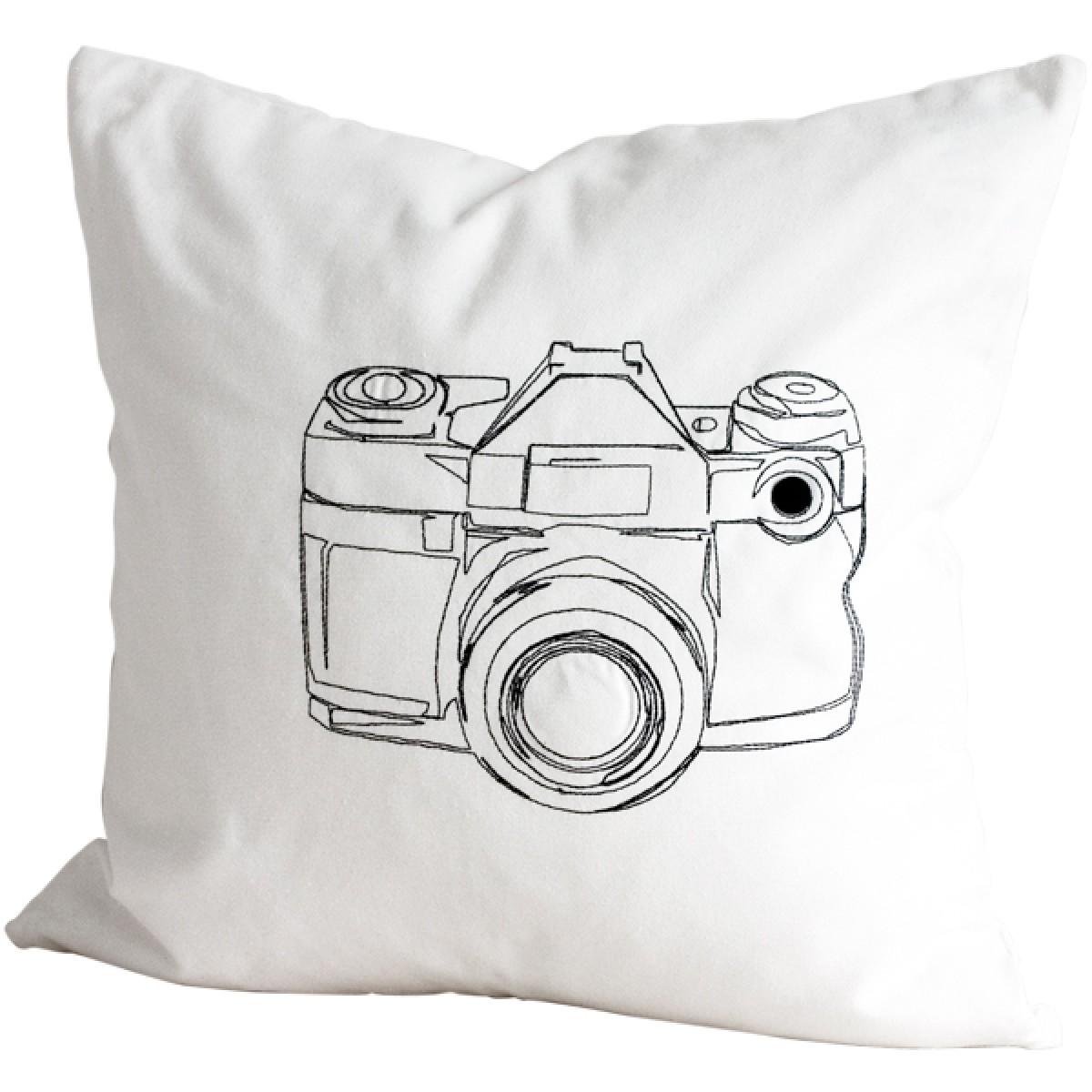 poimia kukkia: weiße Kissenhülle KUVA mit Stickerei, Kamera
