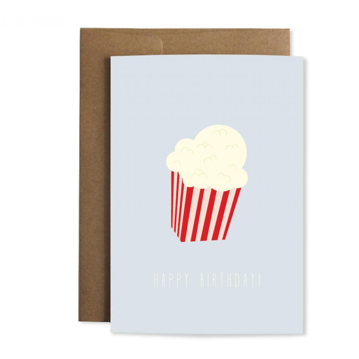 """Edith schmuckes Papier """"Happy Birthday Popcorn"""" Grußkarte"""