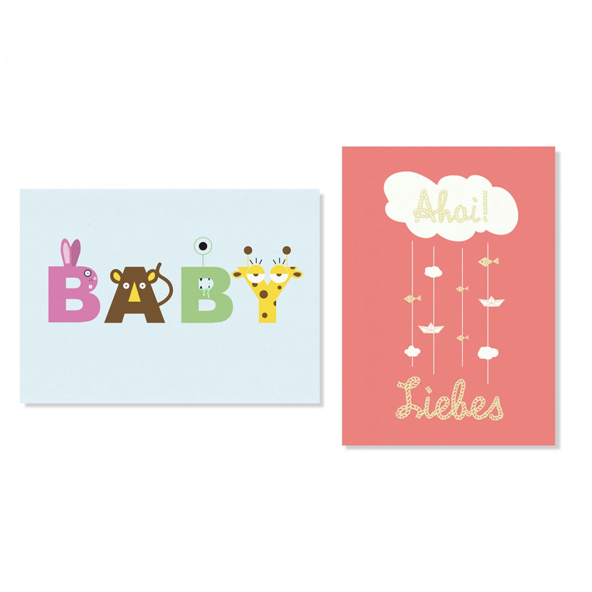 "Edith schmuckes Papier ""Ahoi Postkarten-Set"" mit 2 Postkarten"