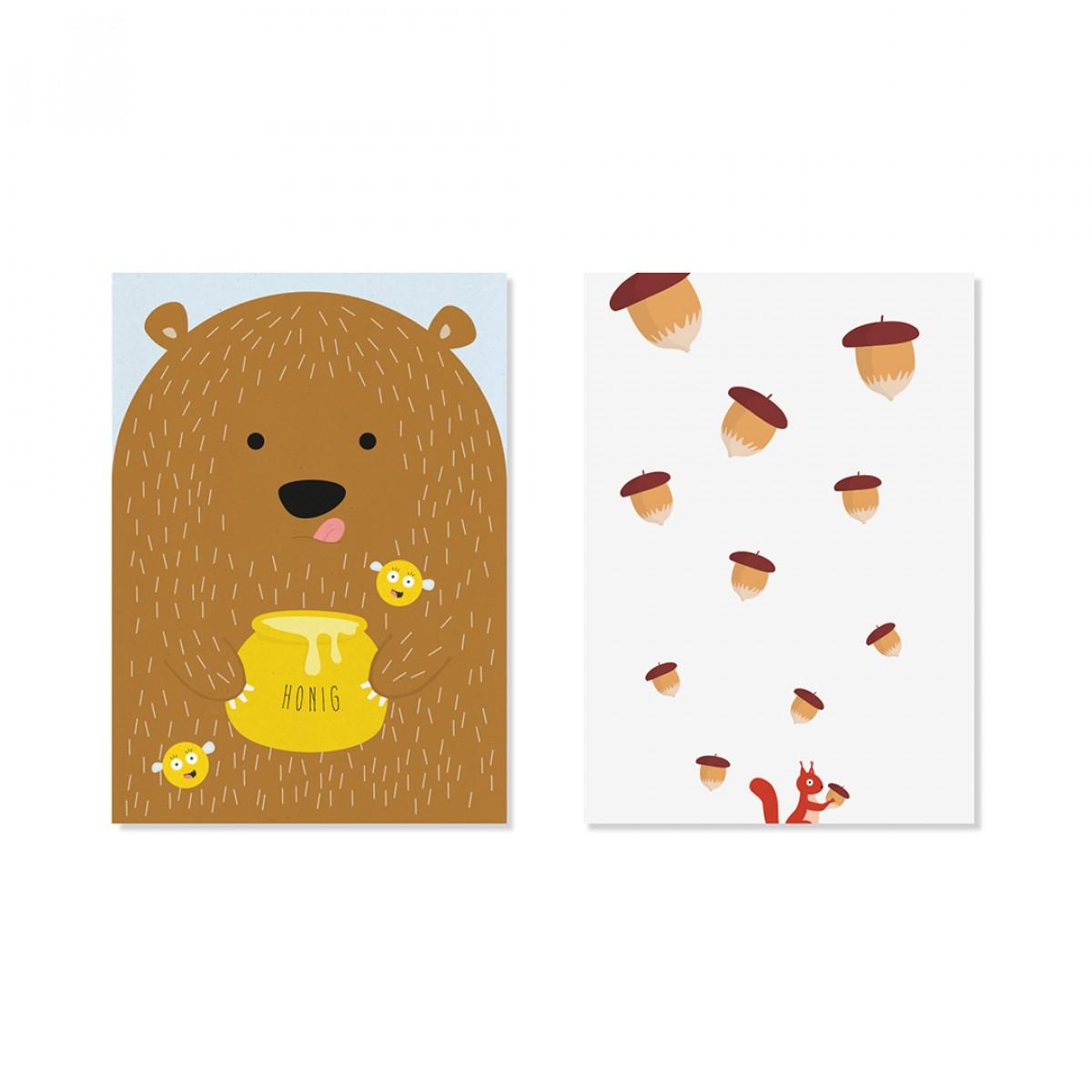 "Edith schmuckes Papier ""Nuts and honey - Postkarten Set ""  2 Postkarten"