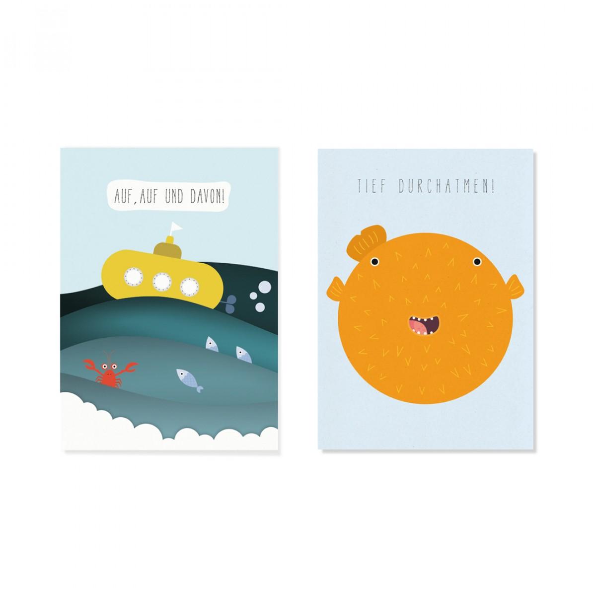 "Edith schmuckes Papier ""Under the sea - Postkarte Set"" mit 2 Postkarten"