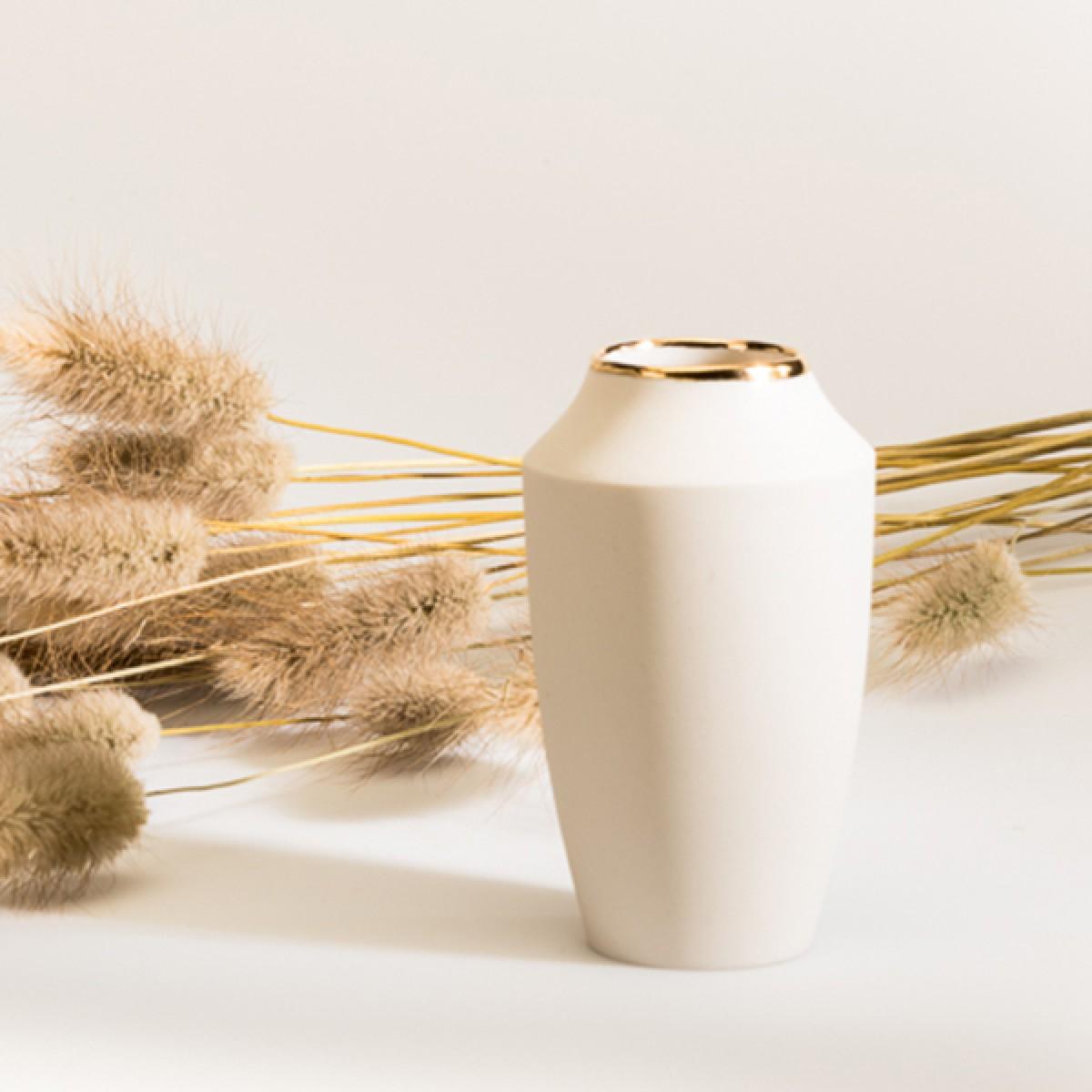 "Mini Vase ""Puck"" mit Goldrand – studio.drei"