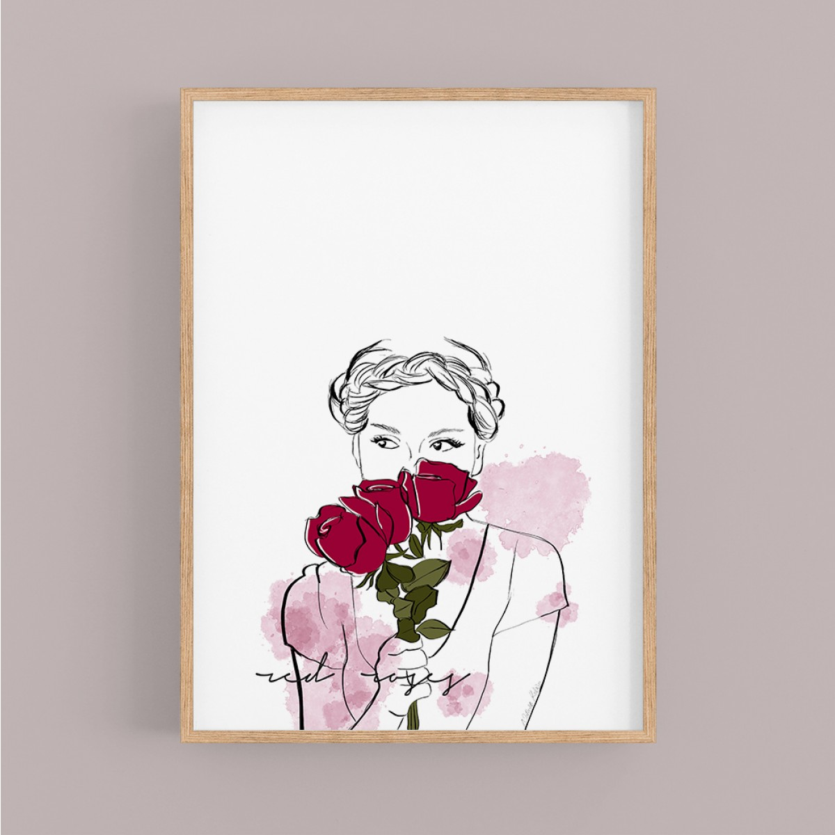 """nathys_illustration - Digitalprint """"red roses"""""""