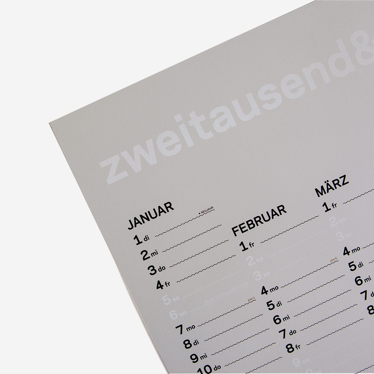 Jahreskalender 2019 - Weiss Schwarz Gold