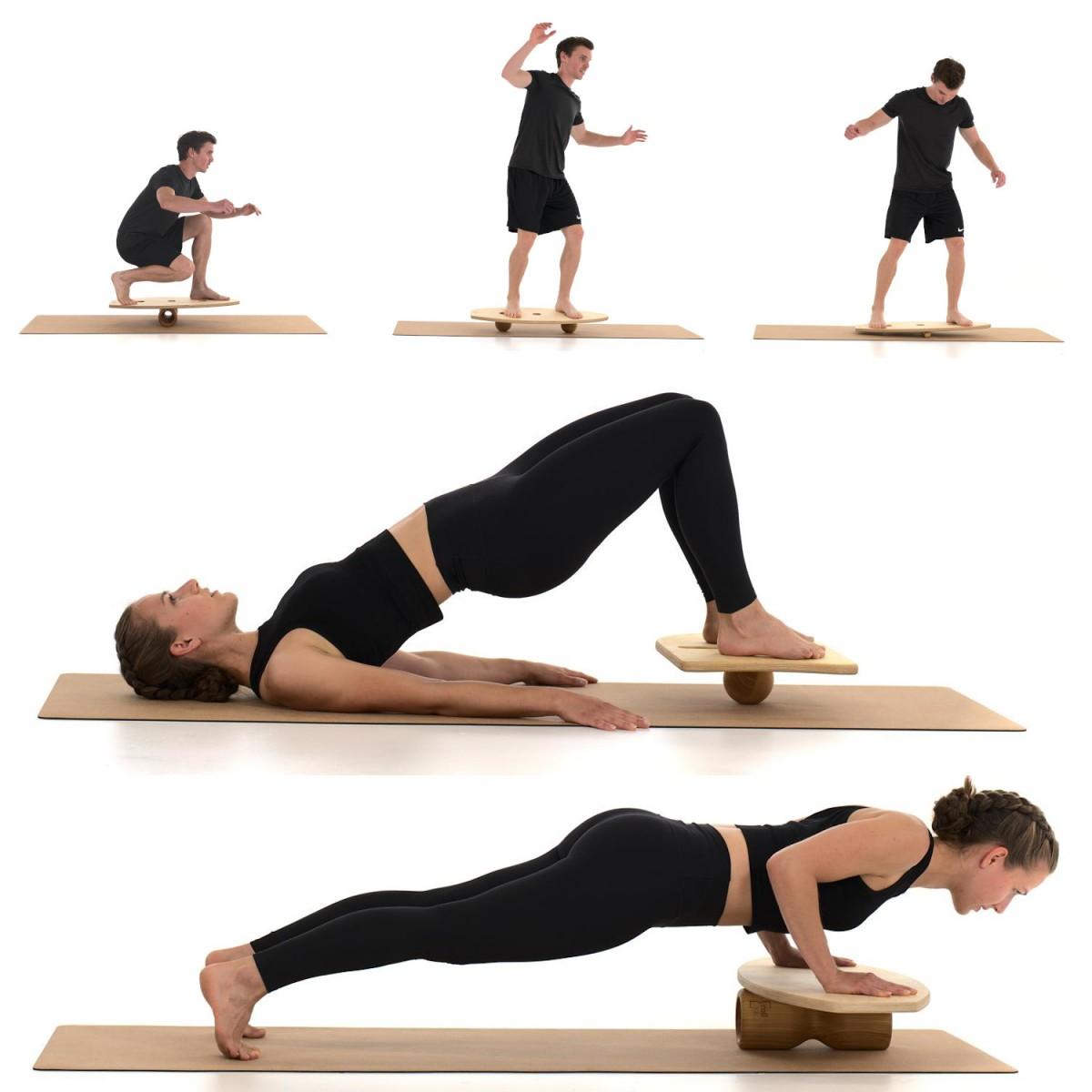 rollholz – Balanceboard zum Training für Gleichgewicht- & Koordinationsfähigkeit (Set groß   Buche)