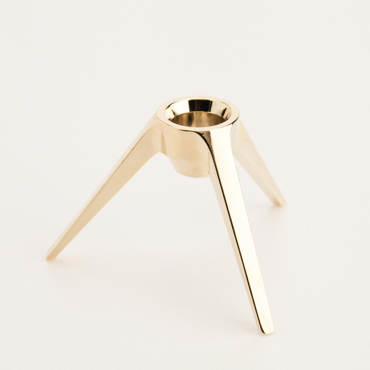 Satellite - Design Kerzenständer aus Metall - echt vergoldet